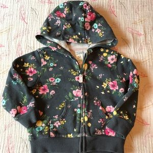 CARTERS 12 month Floral Hoodie EUC